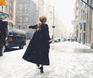 snow, girl, and ny image