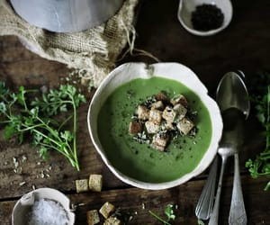 green, soup, and vegetable image