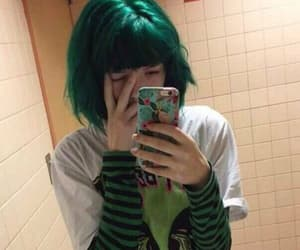 green and green hair image