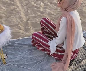 beach, scarf, and muslima image