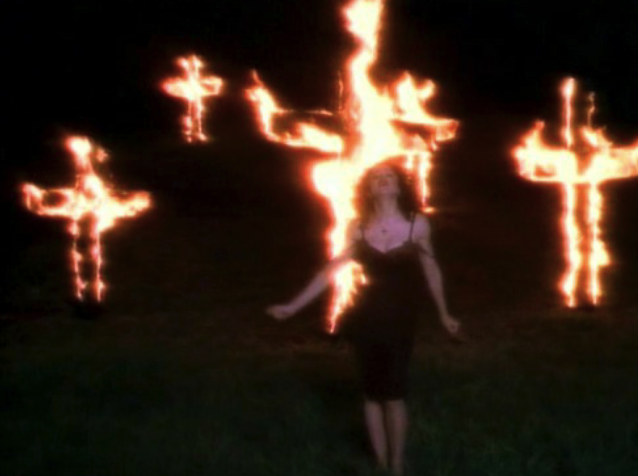 cross, fire, and madonna image