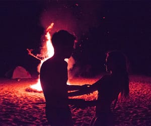 love, couple, and fire image