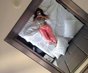 girl, mirror, and bed image