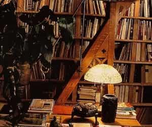 bookcases, books, and desk image
