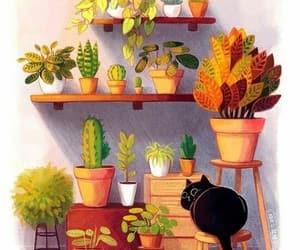 cactus, cat, and art image