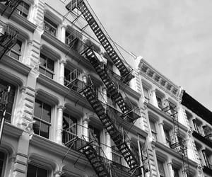 apartment, balcony, and black and white image