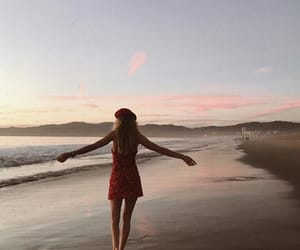 beach, dress, and red image