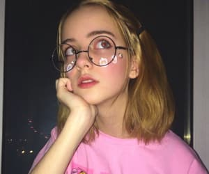 girl, glasses, and pink image