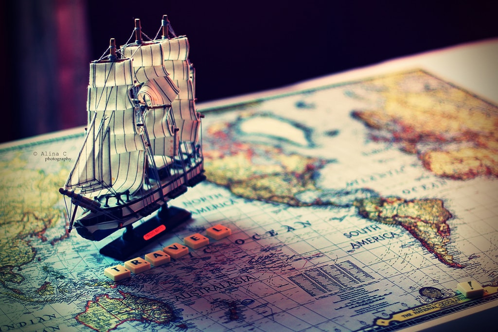 travel, map, and ship image