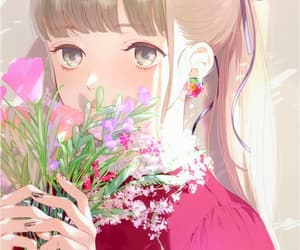 anime girl, art, and flowers image