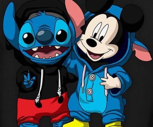 funny, mickey, and stich image