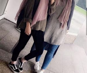 hijab, friends, and love image