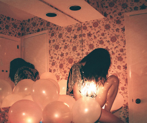girl, balloons, and light image