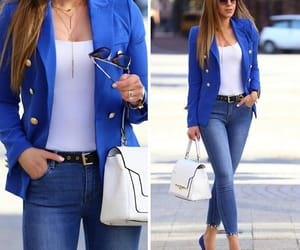 blazer, blue, and fashion image