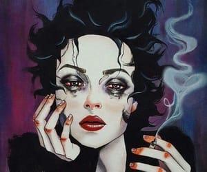 art, black, and smoke image