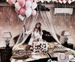 balloons, chocolates, and flowers image