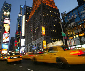 cabs, night, and new york image