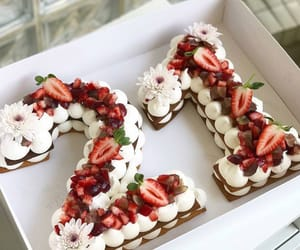 cake, birthday, and strawberry image