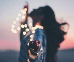 cool, girl, and lights image