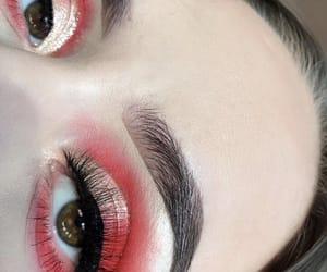 eyebrows, eyelashes, and girl image