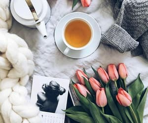 flowers, tea, and tulips image