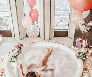bath, balloons, and pink image