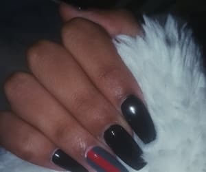 acrylic, black nails, and fluffy image