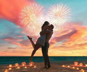 beach, candle, and couple image