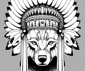 chief, native america, and wolf image