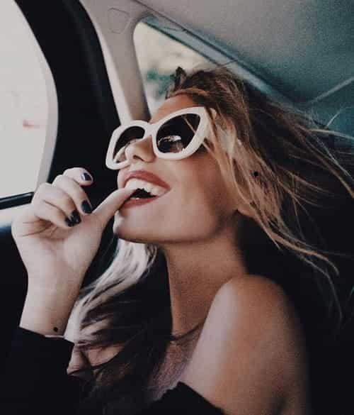 girl, sunglasses, and smile image