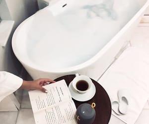 bathtub, coffee, and white image