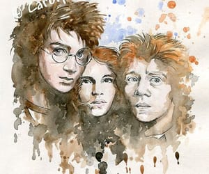 fanart, harry potter, and golden trio image