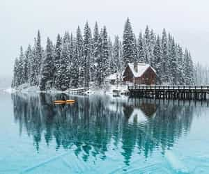 cabin, reflection, and snow image