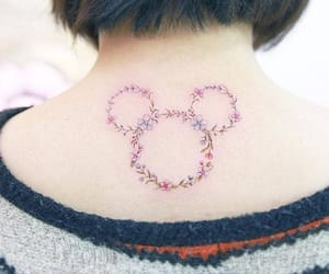 mickey mouse, tattoo, and floral tattoo image