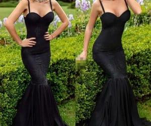 black, prom dress, and dress image