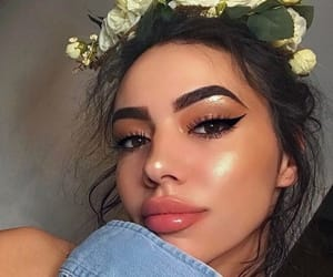 makeup, girl, and flowers image