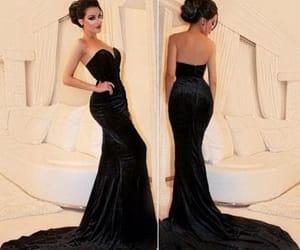 prom dress, black dress, and fashion image