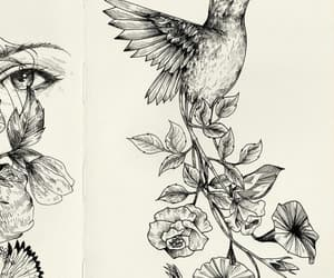 art, bird, and flowers image