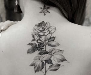 flower, girl, and ink image