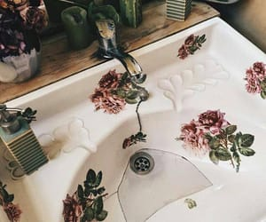 roses, bathroom, and vintage image