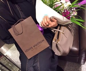 bag, flowers, and lous vuitton image