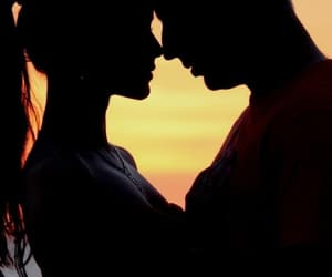 love and sunset image