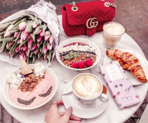 flowers, gucci, and food image