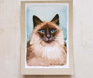 etsy, watercolor painting, and black and white cat image