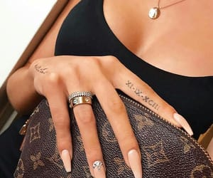 nails, tattoo, and necklace image