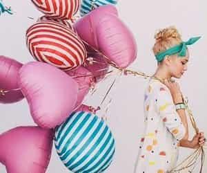 balloons, pink balloons, and girl image