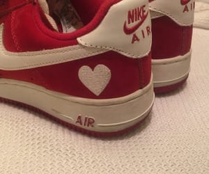 red, nike, and shoes image