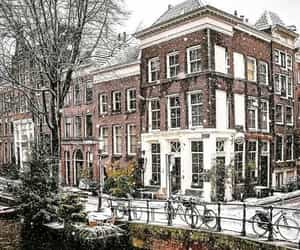 snow, amsterdam, and city image