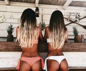 bikini, blonde, and hair image