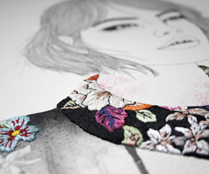 collar, drawing, and flowers image